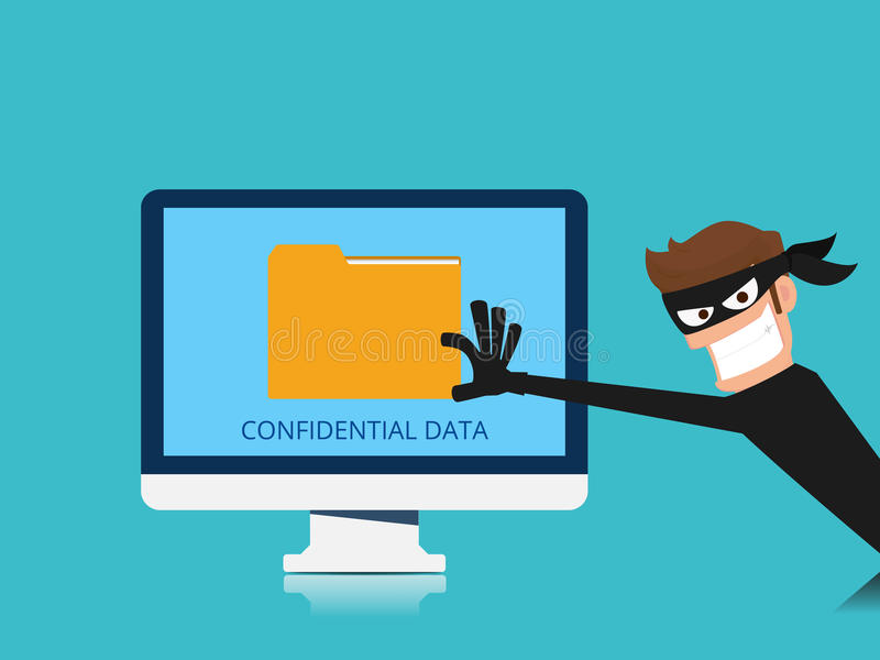 Thief. Hacker stealing confidential data document folder from computer useful for anti phishing and internet viruses campaigns. Concept hacking internet social vector illustration