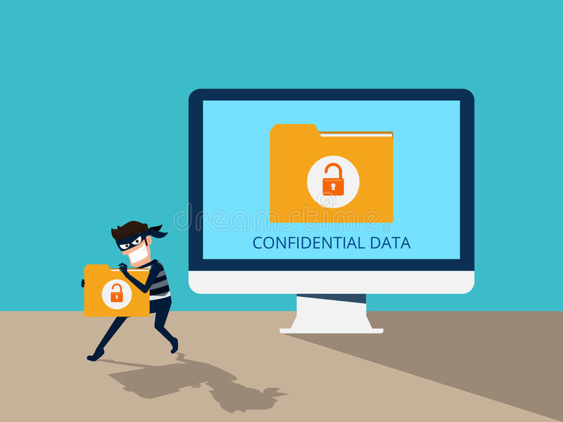 Thief. Hacker stealing confidential data document folder from computer useful for anti phishing and internet viruses campaigns. Concept hacking internet social royalty free illustration