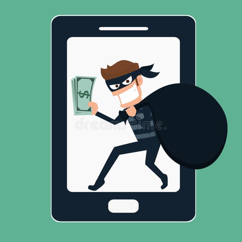 Thief. Hacker stealing money on smart phone. stock illustration