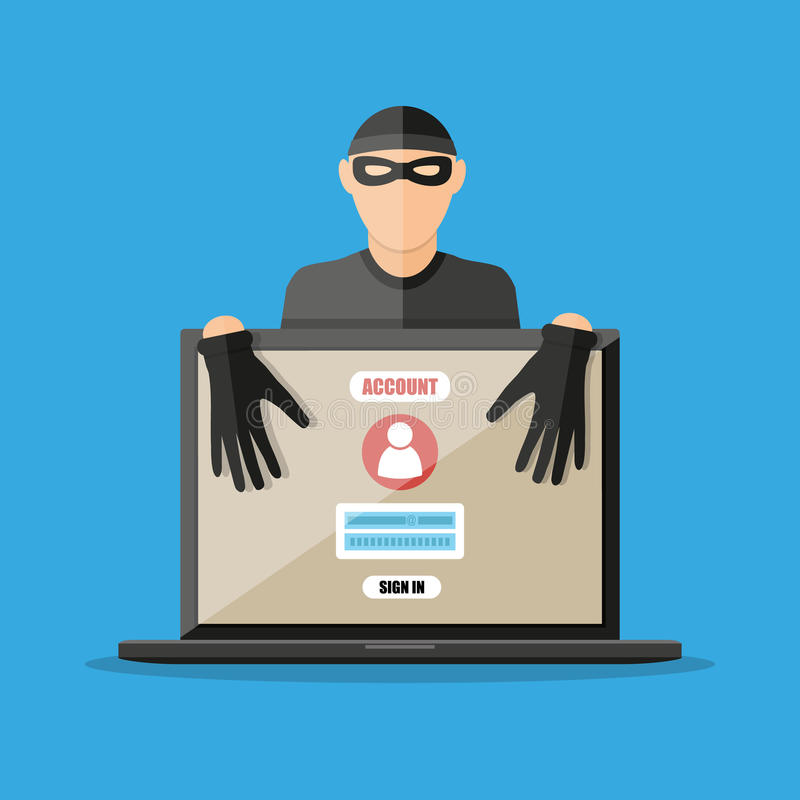Thief hacker stealing passwords from laptop stock illustration