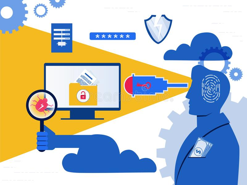 Thief. Hacker stealing sensitive data as passwords from a personal computer useful for anti phishing and internet viruses campaign stock illustration