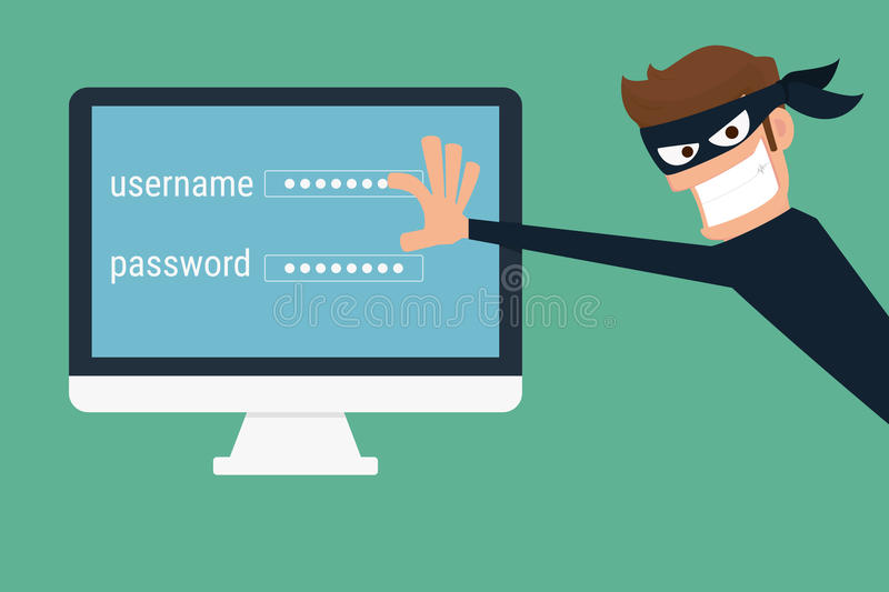 Thief. Hacker stealing sensitive data as passwords from a personal computer. Useful for anti phishing and internet viruses campaigns. concept hacking internet vector illustration