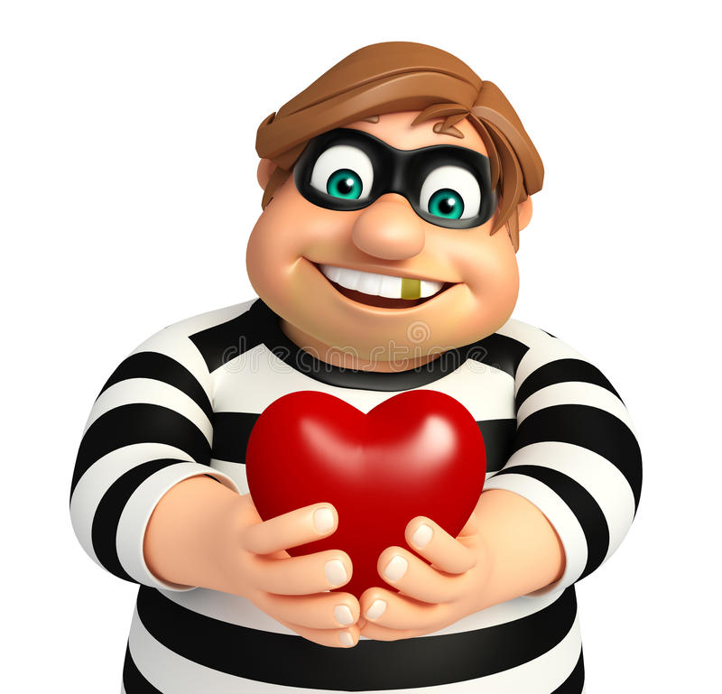 Thief with Heart. 3d rendered illustration of Thief with Heart royalty free illustration