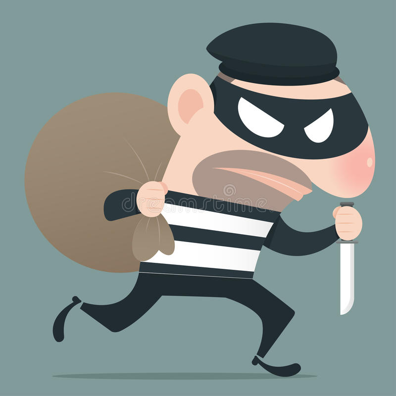 Thief holding knife. In his hand and carrying a money bag, EPS10, Vector vector illustration