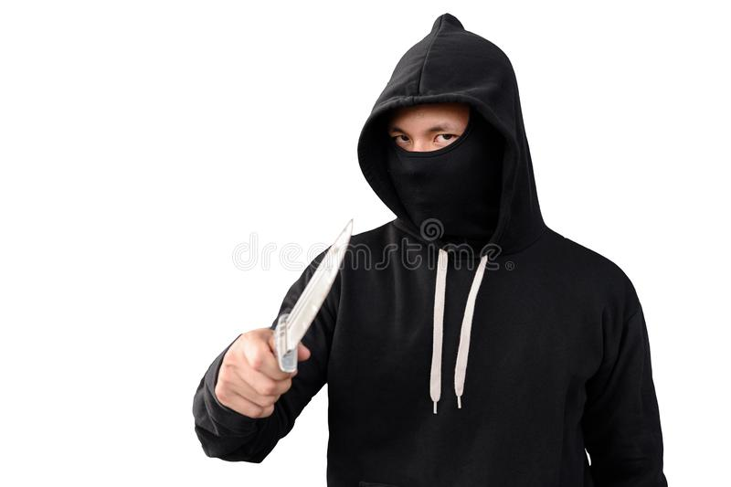thief man with knife isolated on white stock photography