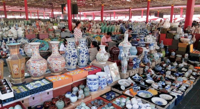 Panjiayuan antique market, Beijing, China. Chinese porcelains, in the Panjiayuan antique market, Beijing, China stock images