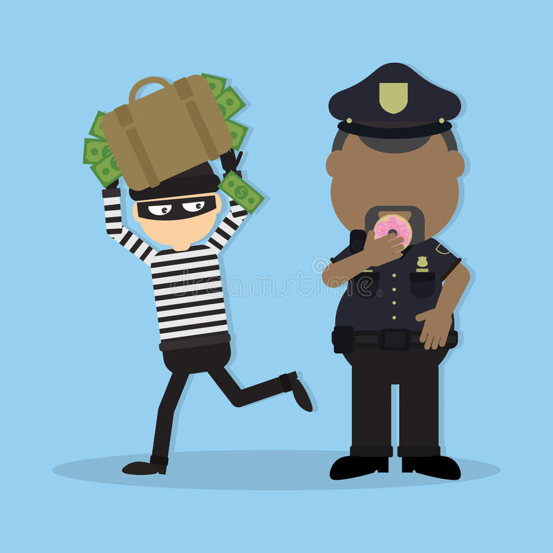 Thief with bag full of money. Vector ~ Illustrations ...