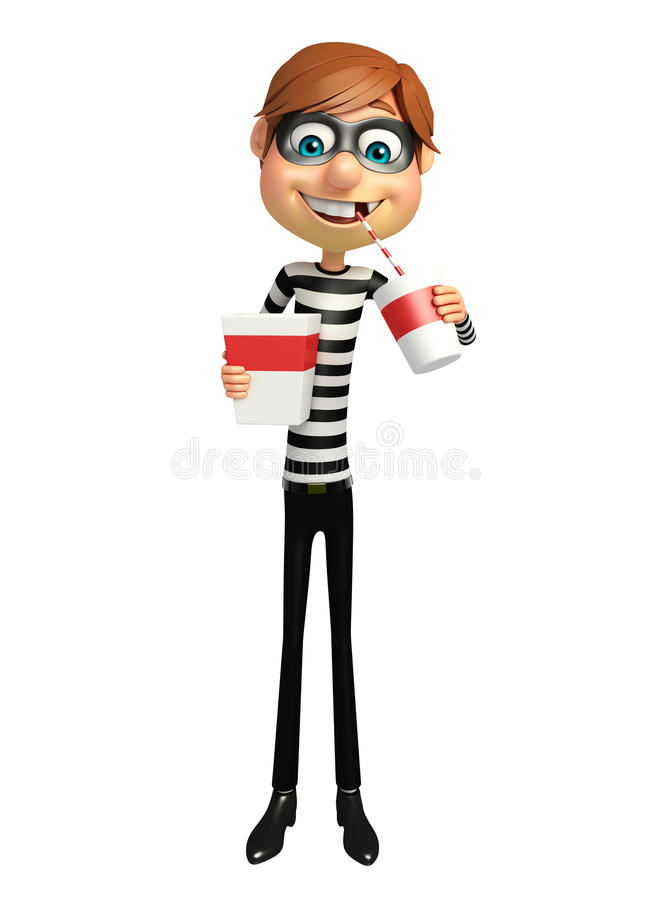 Thief with Popcorn and soft drink stock illustration