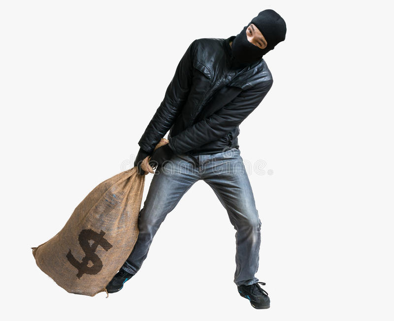 Thief or robber is pulling loot - heavy bag full of money. Isola. Ted on white stock image