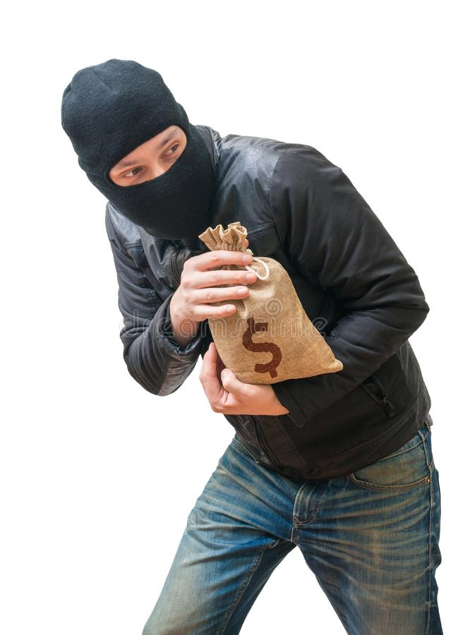 Thief or robber is stealing bag full of money with dollar sign. Isolated on white background stock photos