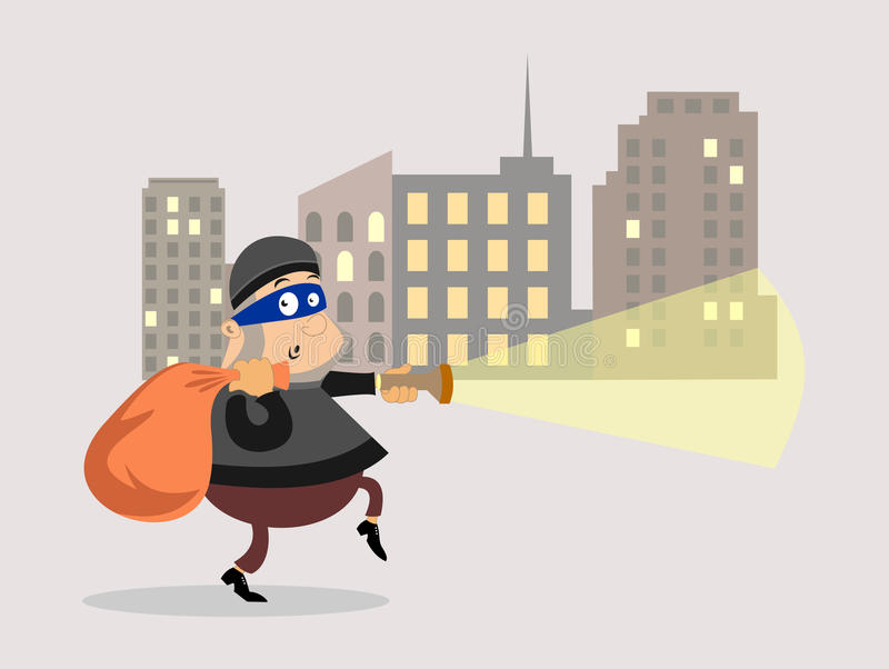 Thief. Robbery. Thief with bag of money. stock illustration