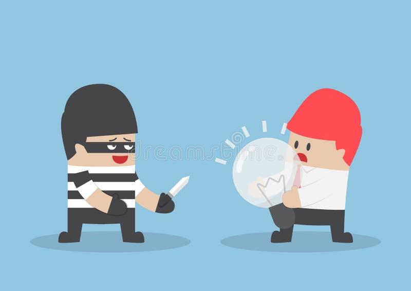 Thief robbing idea bulb from businessman vector illustration