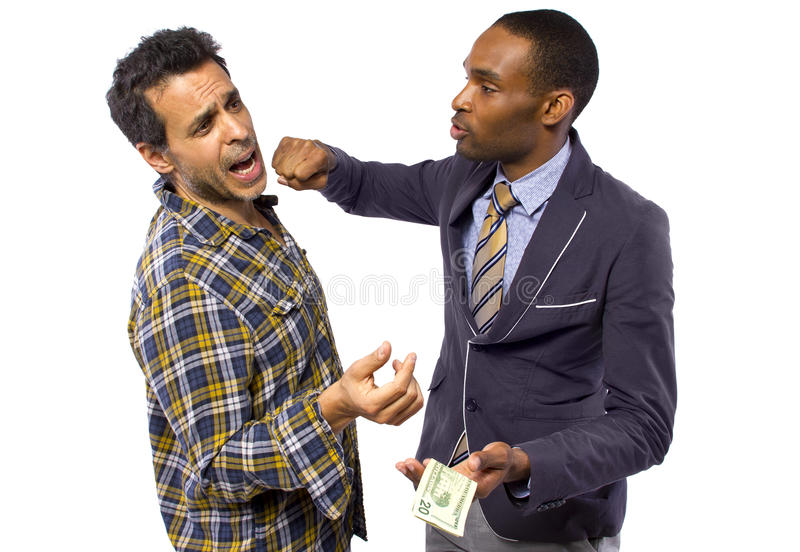 Thief. Sneaky men stealing cash from a victim royalty free stock photography