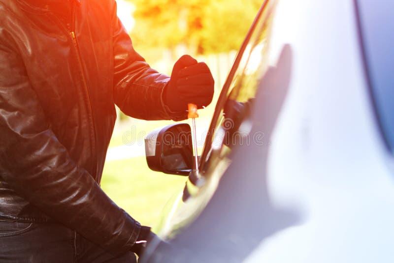 Thief stealing a car vector illustration