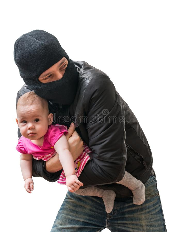 Thief is stealing kidnapped baby. Children kidnapping concept. Isolated on white background royalty free stock photography