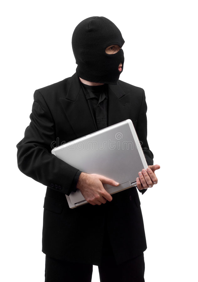 Thief Stealing Laptop Stock Image