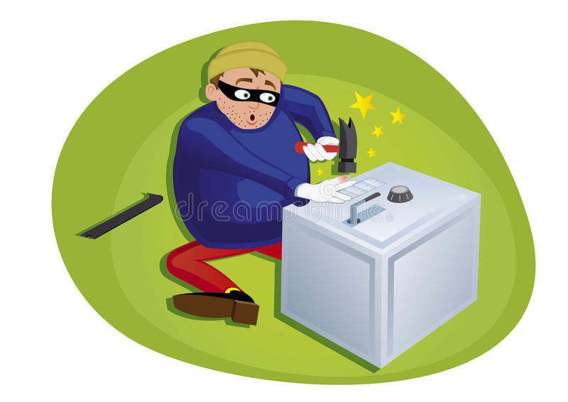 Download Thief Steeling Money From Security Safe Stock Vector - Image: 19968537