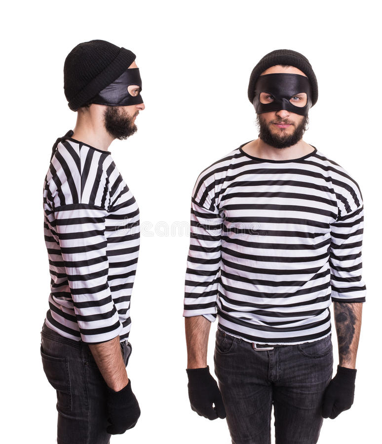 Thief stereotype. Front and side stock images