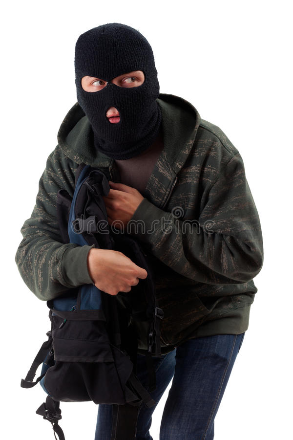 Thief With Stolen Backpack Stock Photography