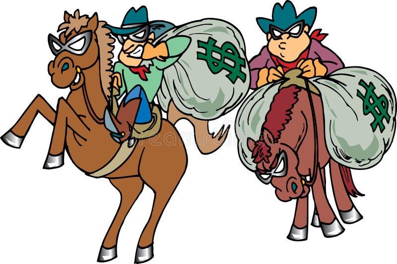 Thiefs que rouba o dinheiro ilustração stock