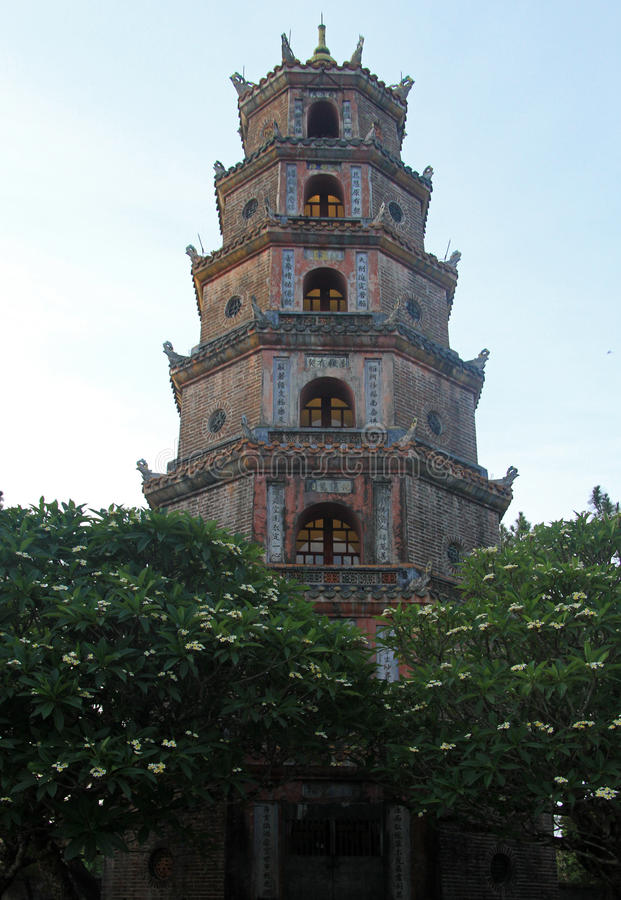 Thien Mu Temple in Hue. Is the tallest religious building in Vietnam stock image
