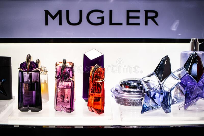 Thierry Mugler Perfume On The Shop Display For Sale Fragrance Created By Thierry Mugler French Fashion Designer Editorial Photo Image Of Glass Background 175667716