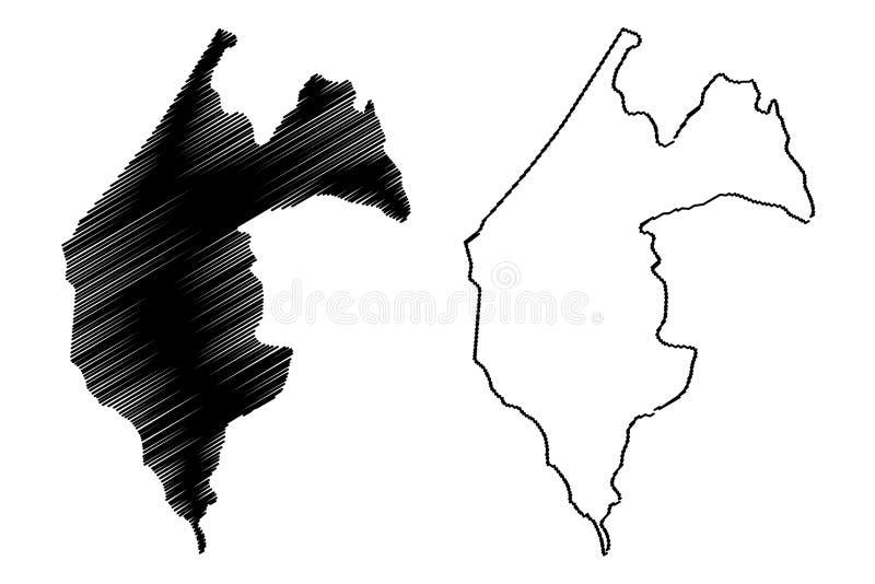 Thies Region Regions av Senegal, republiken av illustrationen för den Senegal översiktsvektorn, klottrar skissar den Thies översi vektor illustrationer