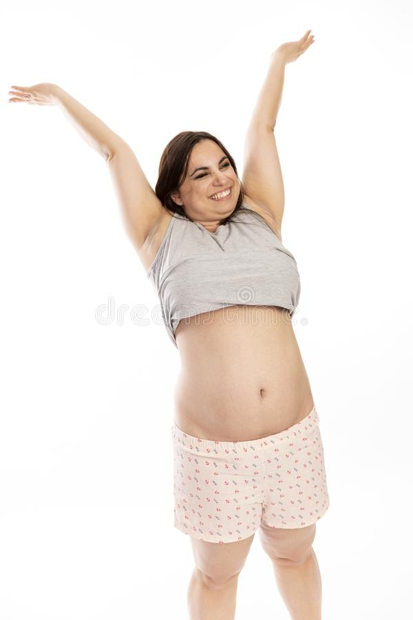 Free Thik Young Woman Laughing And Dansing Stock Photos - 127573013