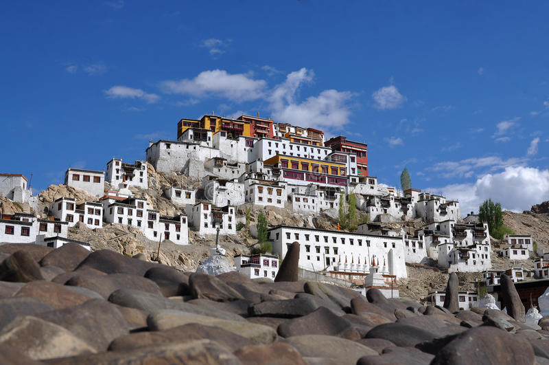 Thiksey修道院在拉达克,印度 免版税库存图片