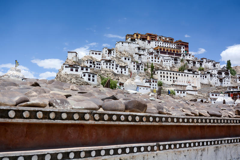 Thiksey修道院在Leh,拉达克,印度 库存照片