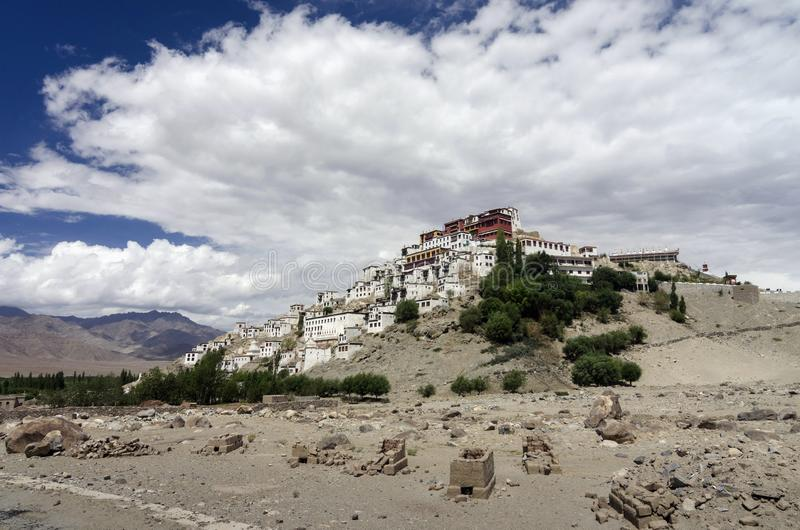 Thiksey Monastery or Thiksey Gompa atop a hill, Ladakh, India.  royalty free stock photos