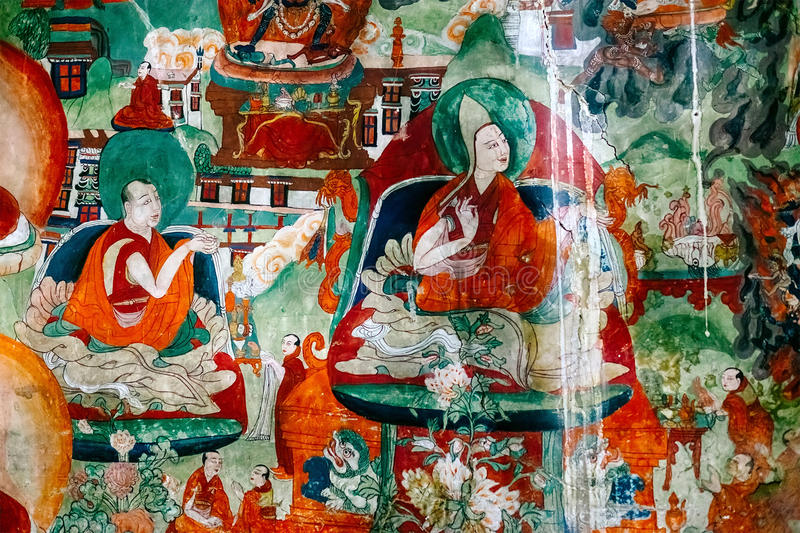 Thiksey village in Ladakh, India - AUGUST 20: Buddha Incarnation elements of wall painting in Thiksey Monastery on August 20, 201. 6 in Thiksey village in Ladakh royalty free stock photography