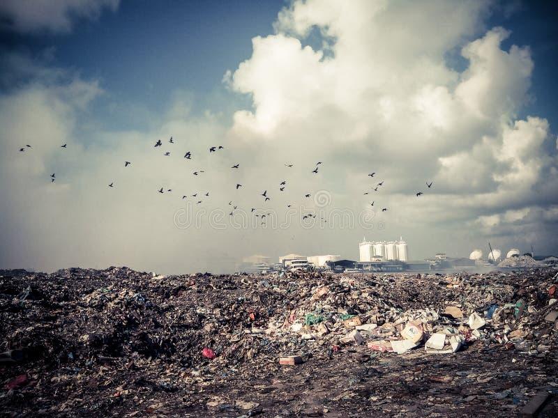 Thilafushi island.Maldives.Garbage dump, plastic mountains stock image