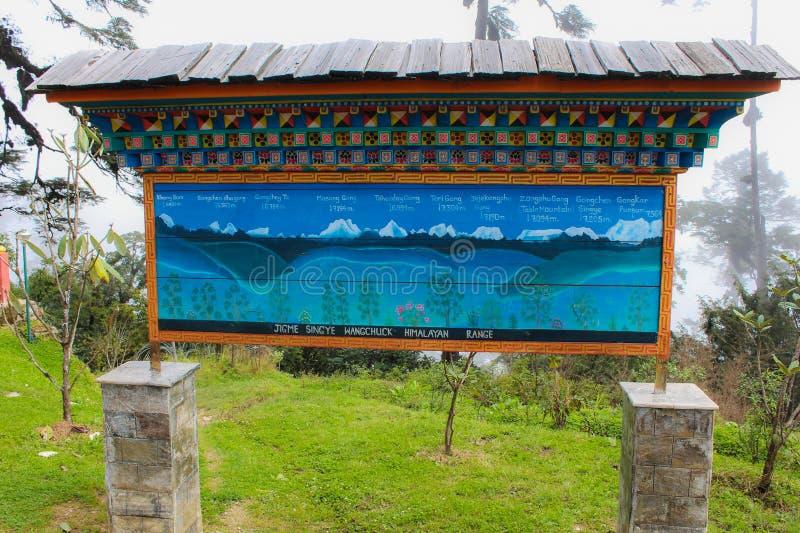 Thimphu, Μπουτάν - 10 Σεπτεμβρίου 2016: Πινακίδα του εθνικού πάρκου Jigme Singye Wangchuck (μαύρο εθνικό πάρκο βουνών) στοκ φωτογραφία με δικαίωμα ελεύθερης χρήσης
