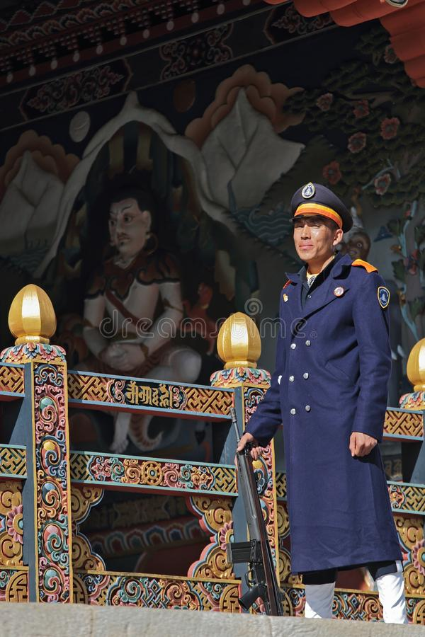 THIMPHU, BHUTAN - DEC 3, 2017: Royal honour guard on duty in front of the Tashichho Dzong stock photo