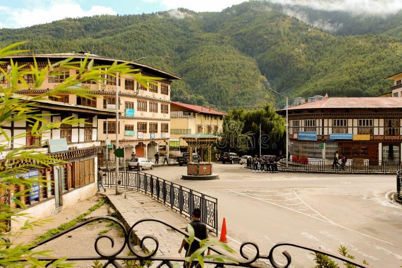 Thimphu, Bhutan - September 10, 2016: Daily life in Thimphu streets, the capital of Bhutan. royalty free stock photo