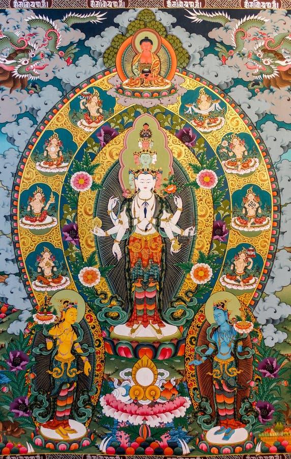Thimphu Bhutan, Wrzesień, - 11, 2016: Malowidło ścienne obraz reprezentuje Tybetańskiej bogini, Bhutan fotografia royalty free