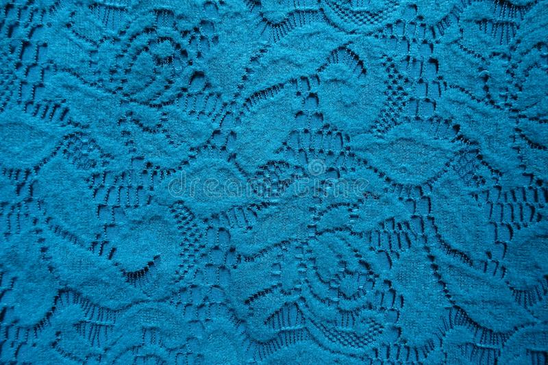 Thin blue-green cotton lace from above. Thin blue green cotton lace from above royalty free stock photos