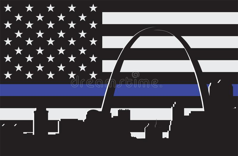 Thin Blue Line with Arch vector illustration