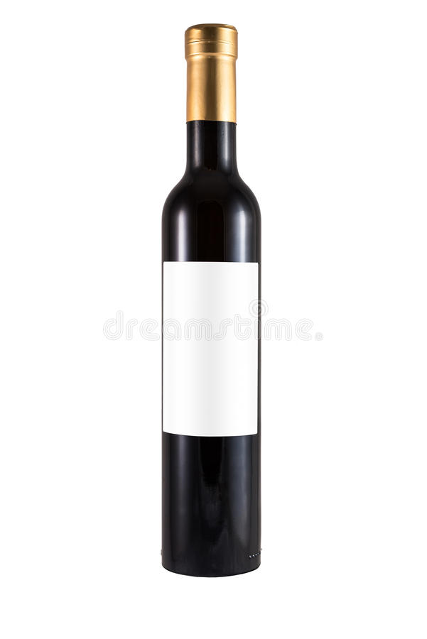 Thin bottle of red wine made of green glass and blank label stock photography