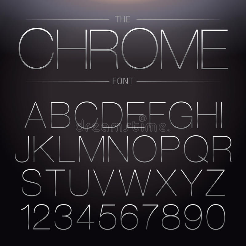 Thin Chrome Font. Vector Metallic Alphabet stock illustration