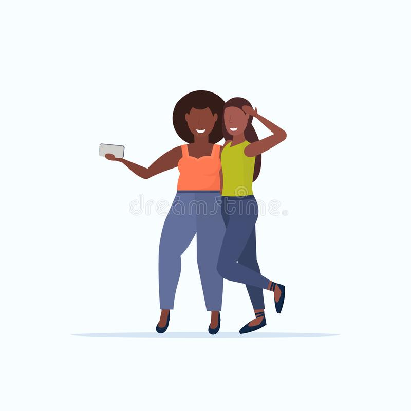 Thin and fat girls taking selfie photo on smartphone camera african american smiling women couple standing together flat. Full length white background vector stock illustration