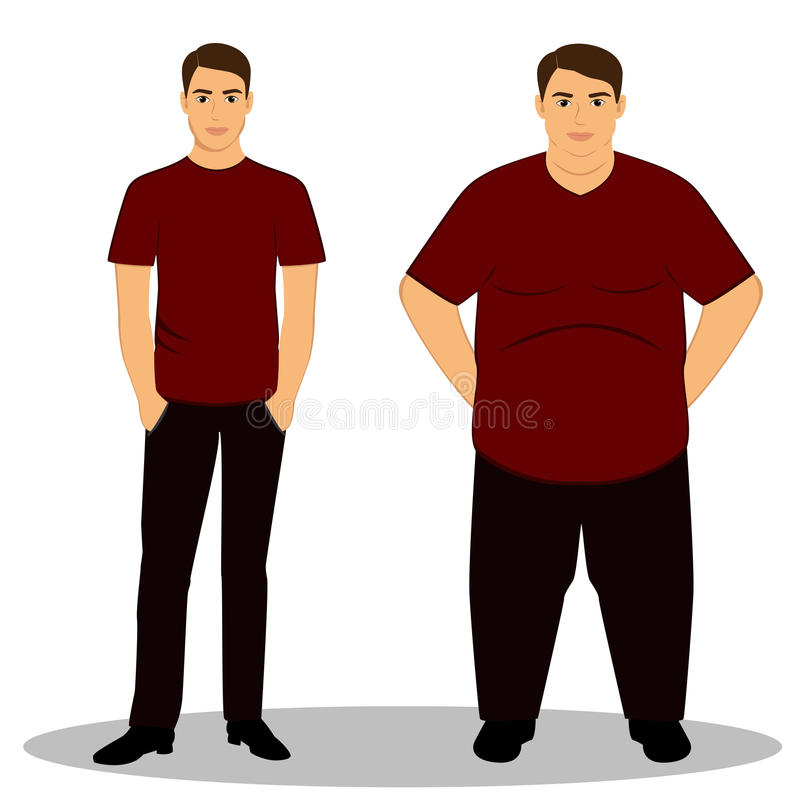 Thin and fat. Isolated objects. stock photography