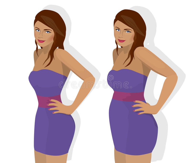Thin and fat woman. Two bodies of a girl - before and after losing weight stock illustration