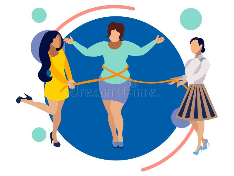 Thin friends help a woman to lose weight. In minimalist style. Flat isometric vector stock illustration
