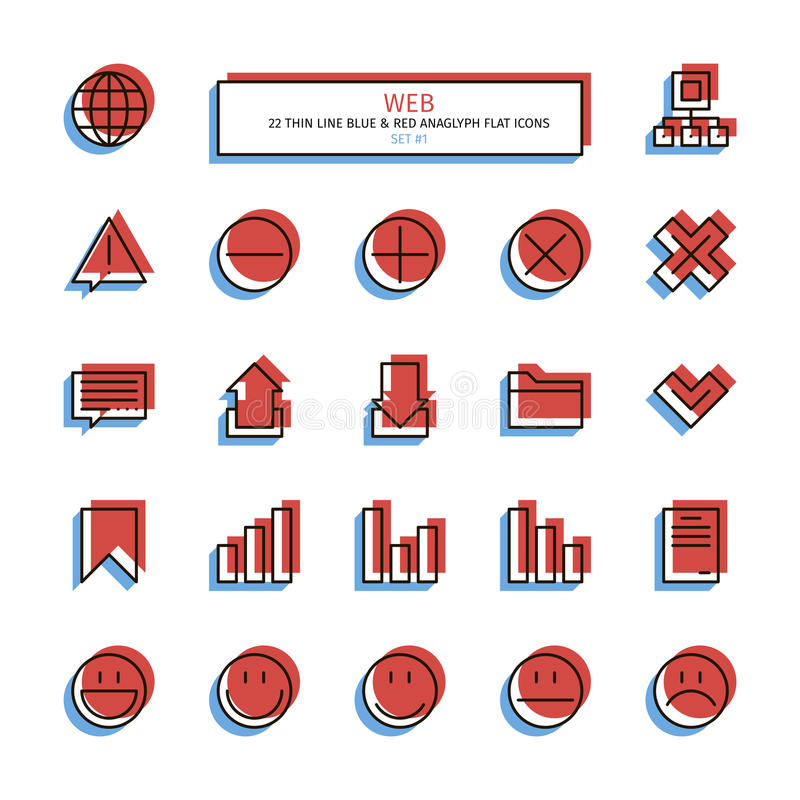 Thin line anaglyph style icons. Web. Thin line icon set. Anaglyph 3D red and blue style. Essential web interface icons. Vector stock illustration