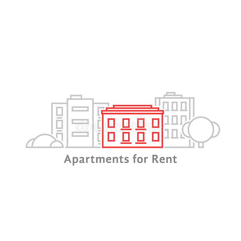 Thin line apartments for rent royalty free illustration