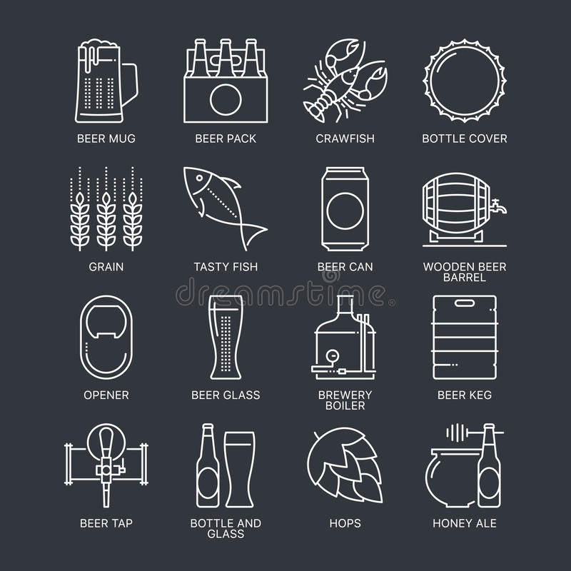 Thin line beer logo concept. Web graphics linear icons set. vector illustration