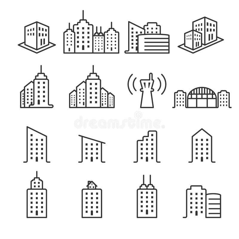 Thin line building icon set 2, vector eps10.  vector illustration