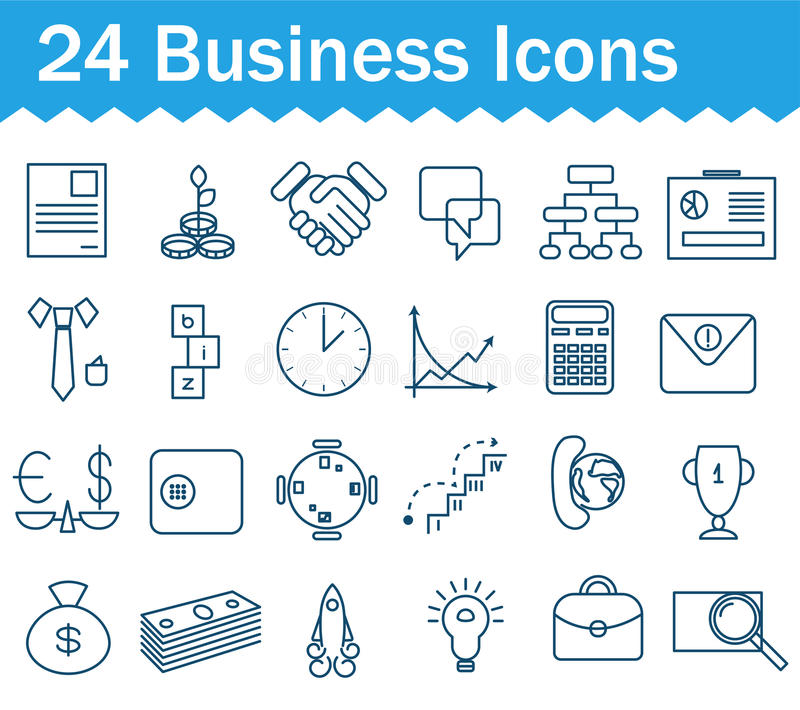 Thin line business icons set. Outline icon stock illustration